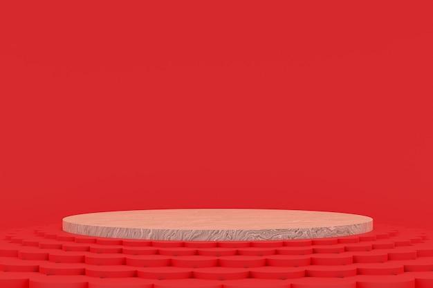 Podest minimal auf rotem hintergrund für die präsentation von kosmetikprodukten