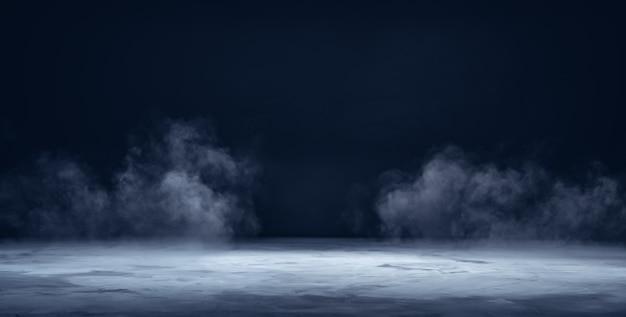 Podest oder tisch aus grauem beton mit rauch im dunkeln