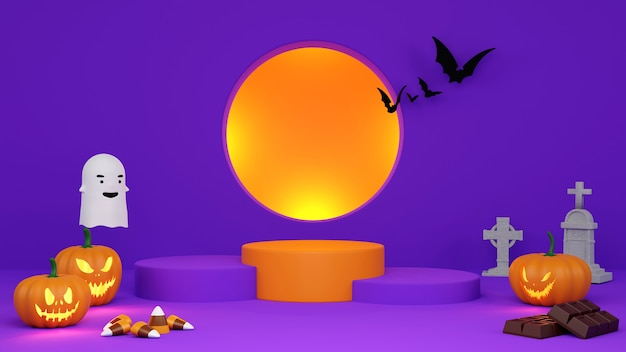 Podest-podest auf orangem hintergrund. , halloween-produktförderung. abstrakte gespenstische wiedergabe 3d.