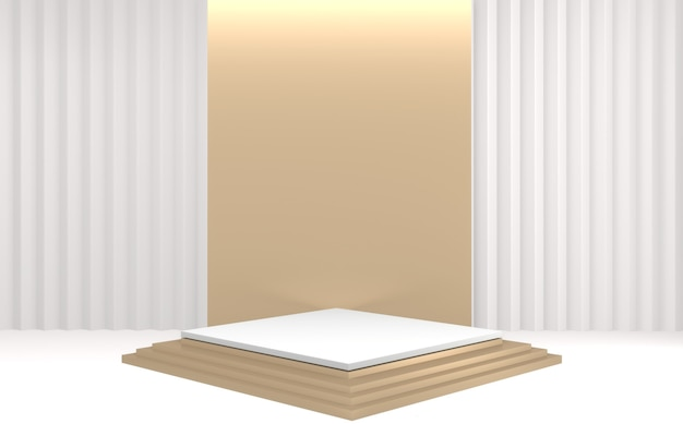 Podest podest mit gold und weiß podium minimal design produktszene. 3d-rendering