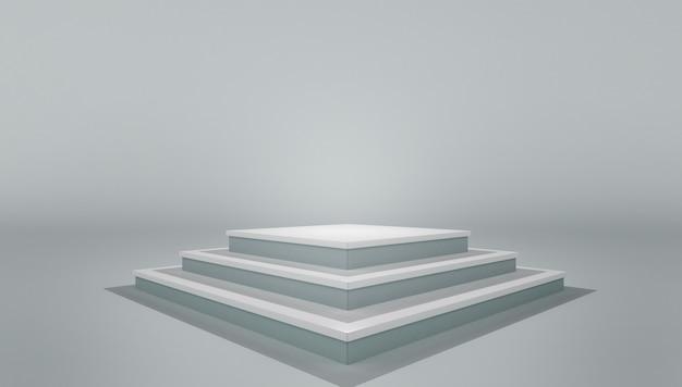 Podest podest podest. modell des weißen leeren stadiums des leeren schablonenplans