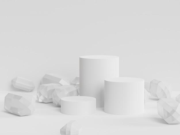 Podeste oder podeste für produkte mit kristallen auf weißem hintergrund, minimaler 3d-rendering