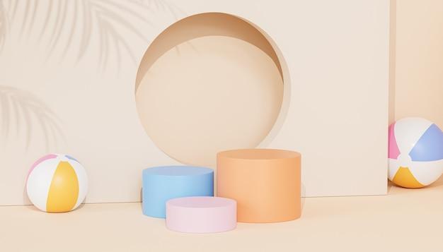 Podeste oder podeste für produkte oder werbung auf tropischem beigem hintergrund mit wasserbällen, 3d-rendering