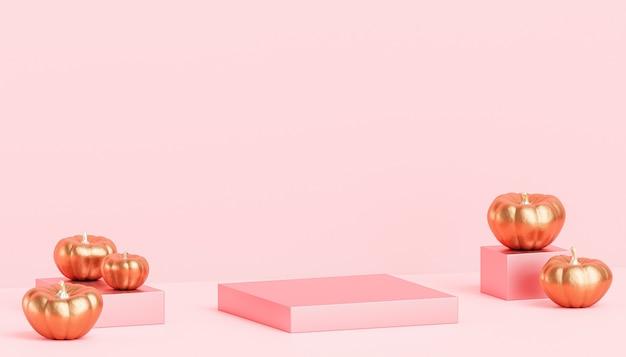 Podeste oder podeste mit goldenen kürbissen für produktpräsentation oder werbung für herbstferien, 3d-rendering