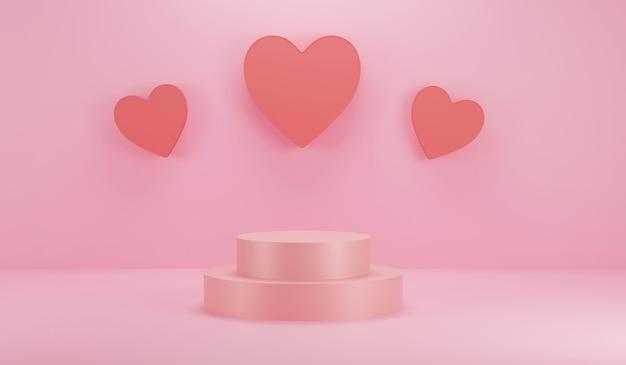 Podestzylinder mit ikonenliebe für event, urlaub und produktplatzierung am valentinstag mit dekorationen. wiedergabe der abbildung 3d. einfache, minimalistische designgrafik