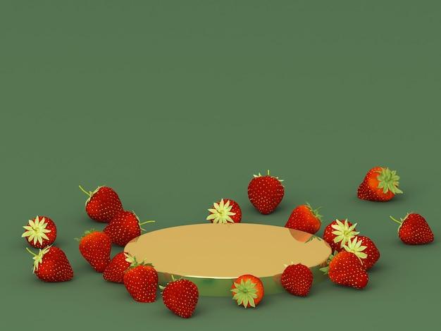 Podien für produkt mit erdbeeren und dunkelgrünem hintergrund