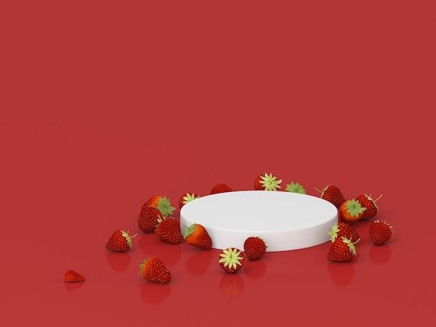 Podien für produkt mit erdbeeren und rotem hintergrund