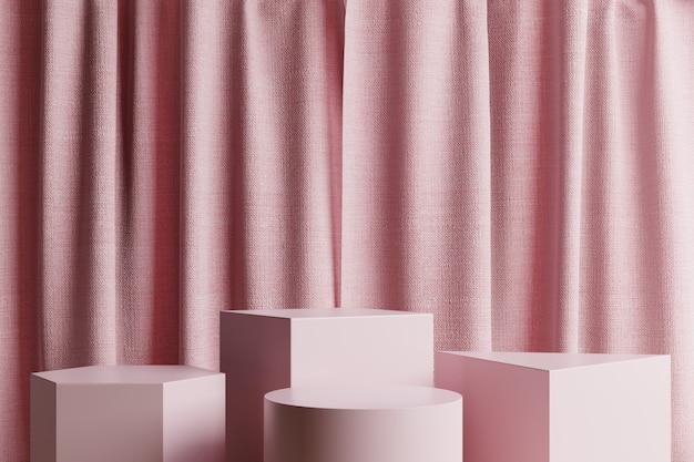 Podien mit rosa vorhängen Premium Fotos