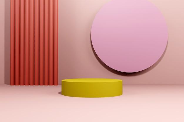 Podium abstrakter hintergrund. geometrische figur. rosa pastellfarbenszene. minimales 3d-rendering. szene mit geometrischem hintergrund. 3d rendern