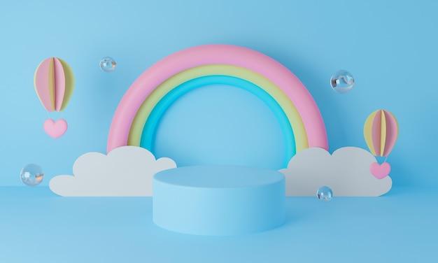Podium anzeigen. regenbogen mit ballon und wolken