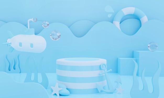 Podium auf pastellhintergrund abstrakte wasserszene