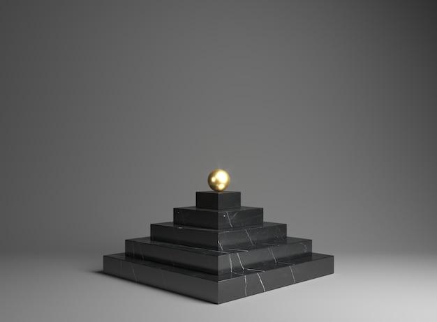 Podium aus schwarzem marmor für die ausstellung von waren