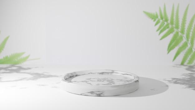 Podium aus weißem marmor mit blättern