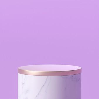 Podium aus weißem marmor mit goldener spitze