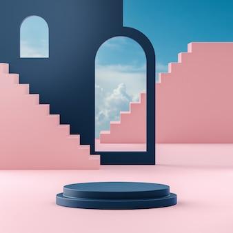 Podium bühnenstand auf bewölktem hintergrund des blauen himmels für produktplatzierung 3d-renderingd