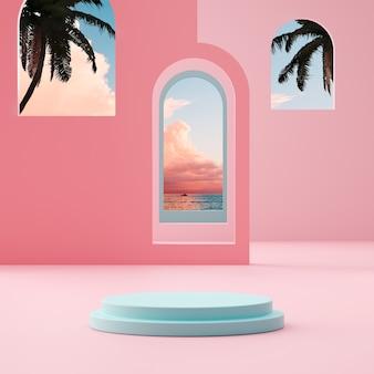 Podium-bühnenstand auf tropischem hintergrund des bewölkten himmels der goldenen stunde für produktplatzierung 3d-rendering