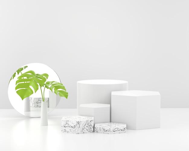 Podium der marmorproduktanzeigebühne mit spiegel- und pflanzenhintergrund-3d-darstellung.
