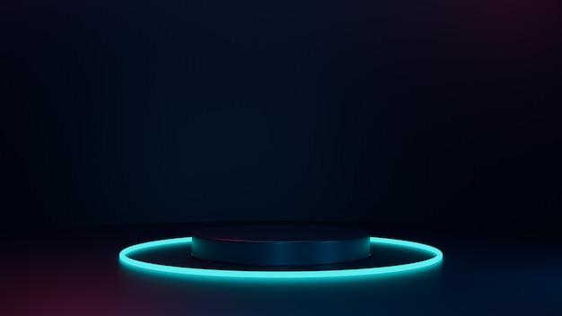Podium dunkel und neonlicht, 3d rendern