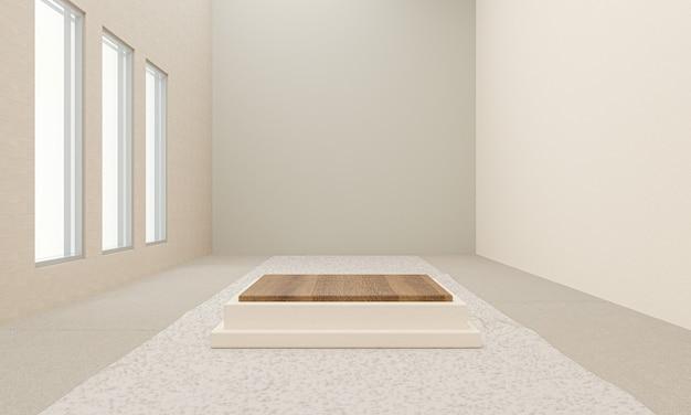 Podium für innenständerschablonen für produktanzeige, 3d-rendering