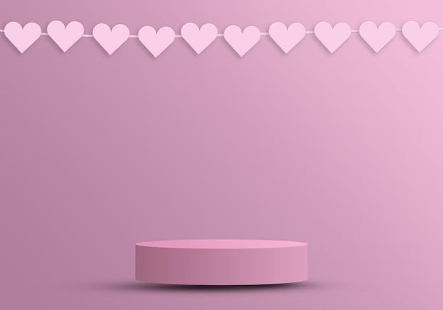 Podium für produkte mit herz, valentinstagskonzept