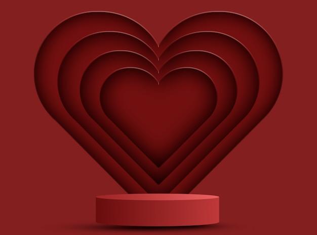 Podium für produkte mit herzdekoration, valentinstagskonzept