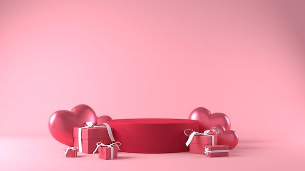 Podium für produktplatzierung am valentinstag mit dekorationen