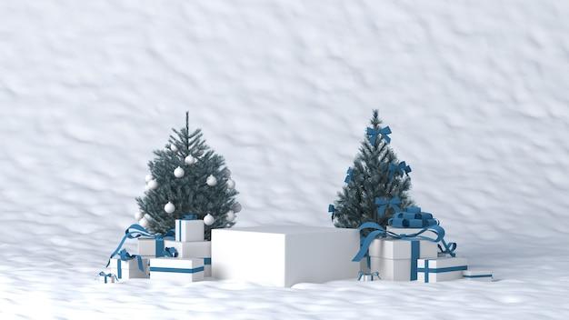 Podium für produktplatzierung im winter mit weihnachtsdekoration