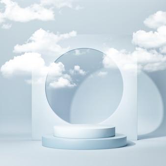 Podium für produktpräsentation. 3d-darstellung des ausstellungsraums, des ausstellungsraums. blauer hintergrund, 3d rendern, 3d illustration