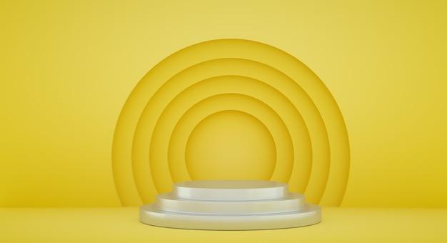 Podium für produktpräsentation mit gelben kreisen, 3d-renderhintergrund