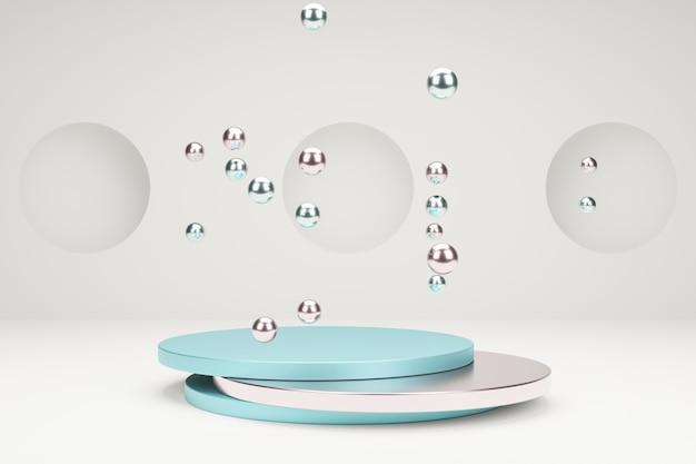 Podium für produktpräsentation mit metallischen blasen 3d-modellierungsszene in ruhigen pastellfarben