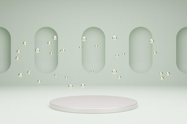 Podium für produktpräsentation mit metallischen blasen 3d-rendering-szene in ruhigen pastellfarben