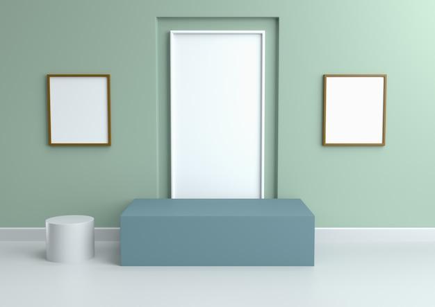 Podium in entspannenden farbschemen der abstrakten weinleseminze, 3d übertragen.