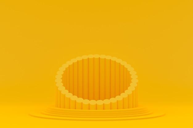 Podium minimal auf gelbem hintergrund für kosmetische produktpräsentation