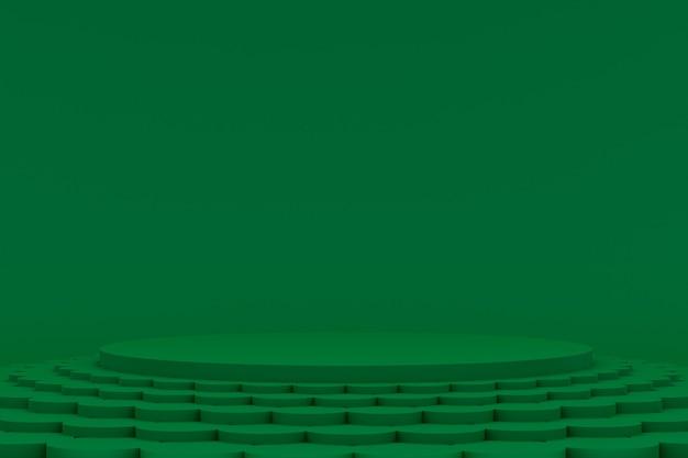 Podium minimal auf grünem hintergrund für die präsentation kosmetischer produkte