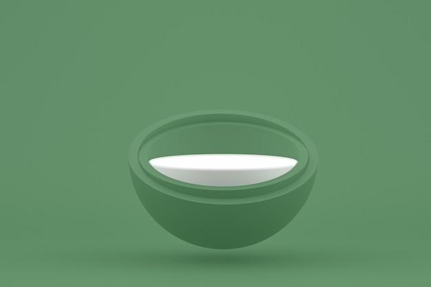 Podium minimal auf grünem hintergrund für die präsentation von kosmetikprodukten