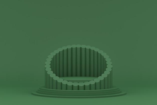Podium minimal auf grünem hintergrund für kosmetische produktpräsentation