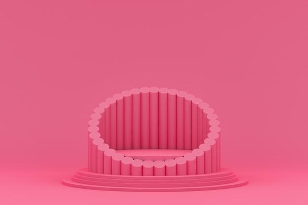 Podium minimal auf rosa hintergrund für kosmetische produktpräsentation