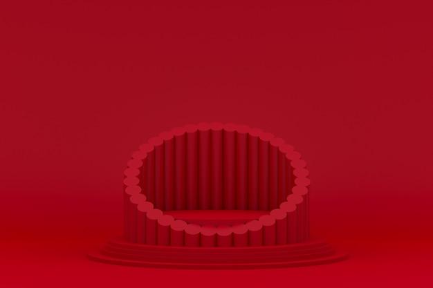 Podium minimal auf rotem hintergrund für kosmetische produktpräsentation