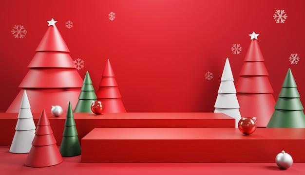Podium mit dekoration für weihnachten