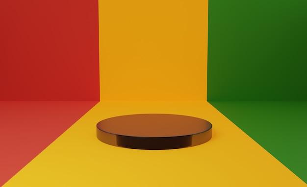 Podium mit dem symbol des schwarzen geschichtsmonats der afrikanischen flagge. 3d-rendering. Premium Fotos