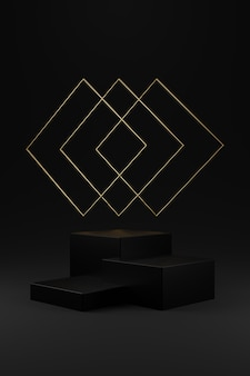 Podium mit drei schwarzen quadraten und goldenem quadratischem ring auf grauem hintergrund mit farbverlauf.