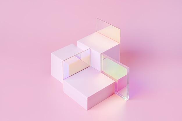 Podium mit geometrischen formen für die produktpräsentation. monochromer sockel mit glänzenden acrylplatten auf rosa hintergrund