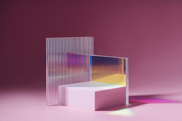 Podium mit geometrischen formen für die produktpräsentation
