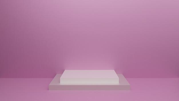 Podium mit geometrischen formen, podium im studio. plattformen für den hintergrund der produktpräsentation. abstrakte komposition in minimalem design