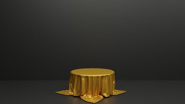 Podium mit geometrischen formen, stoff und podium im studio. plattformen für den hintergrund der produktpräsentation. abstrakte komposition in minimalem design