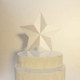 Podium mit geometrischen formen, verdrehtem torus und podium auf dem boden. plattformen für den hintergrund der produktpräsentation. abstrakte komposition in minimalem design