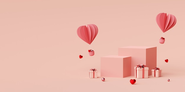 Podium mit herzformballon mit geschenkbox-3d-rendering