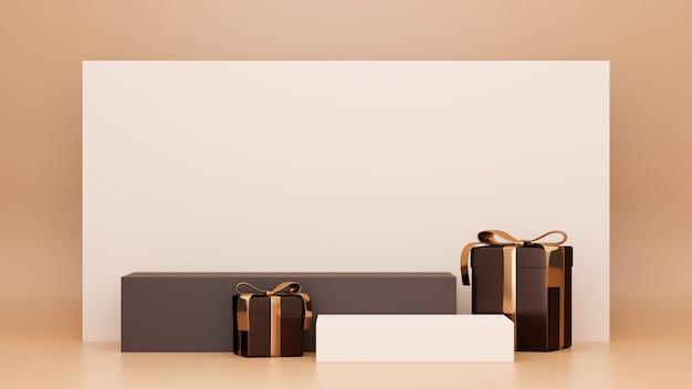 Podium mit hohem stilvollem hintergrund und geschenkboxen in braunem rechteck im hintergrundplakatbanner