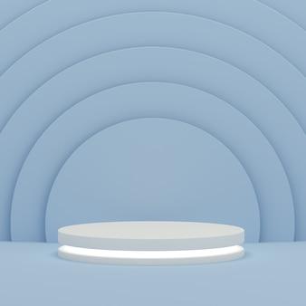 Podium mit licht auf blauem kreismusterhintergrund für ausstellungsanzeigeprodukt. leere podiumsplattform. 3d-rendering.