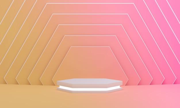 Podium mit licht auf buntem rosa und gelbem hexagonmusterhintergrund. leere podiumsplattform.
